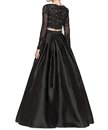Style2 SA012 Evening Quinceanera Piece Dress Satin Long Black 2 Sleeves Dress Beaded Appliques Gown Burgundy Prom 7OqTq