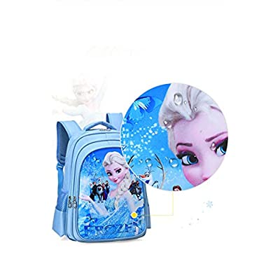 BIGMENG Blue Frozen Elsa School Backpack Bag for Girls Disney Cartoon Student Bookbag for Toddler | Kids' Backpacks