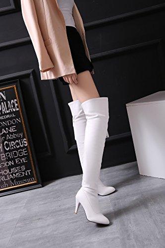 YE Damen Spitze High Heels Overknee Stiefel mit 8cm Absatz wasserdicht Boots Herbst Winter Schuhe Weiß