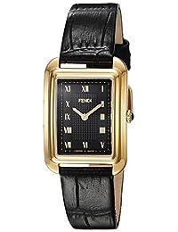 Fendi Women's 'Classico Rect' Swiss Quartz Gold-Tone and Leather Dress Watch, Color:Black (Model: F700431011)