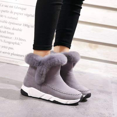 authentic reasonable price hot sales Amazon.com: JingZhou 2018 Winter Wedge Patchwork Faux Fur ...