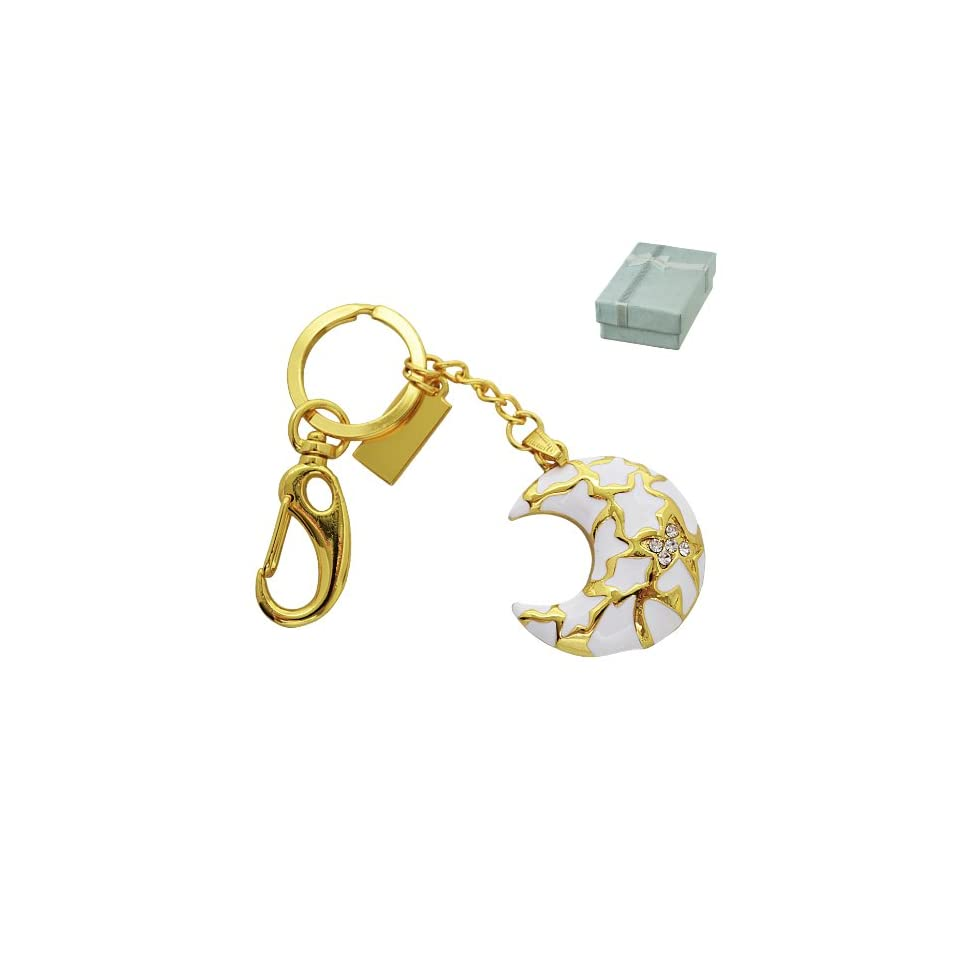 White and Gold Crystal Moon Jewelry Keychain 8GB USB Flash Drive   in Gift box   with GadgetMe Brands TM Stylus Pen and comes in GadgetMe retail packaging