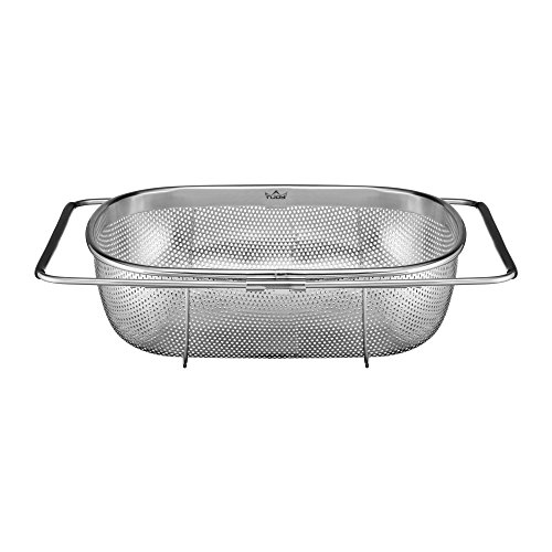 (Injoy Over the Sink Colander Stainless Steel 304 with Fine Mesh Strainer Basket with Expandable Handles Premium Quality for Strain, Drain, Rinse Fruits, Vegetables-Dishwasher Safe and LFBG approved)