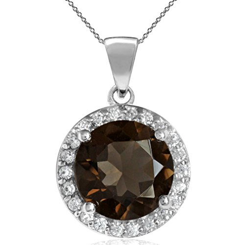 2.4ct. 9MM Natural Round Smoky Quartz 925 Sterling Silver Halo Pendant w/18 Inch Chain Necklace