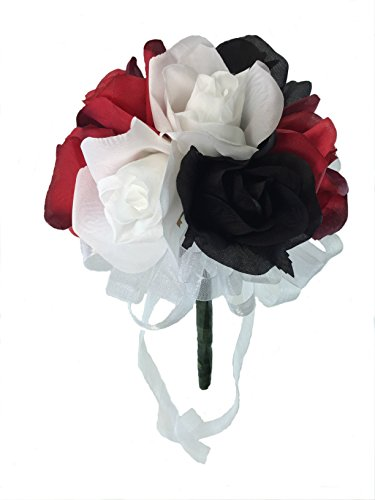Red, White and Black Silk Rose Toss Bouquet - Silk Wedding Toss Bouquet (Red Bridal Toss Bouquet)