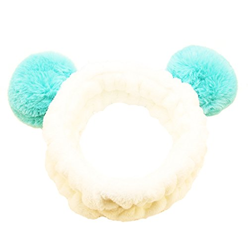 M-FIT Cute Beauty Headband Panda with Fluffy Ball Ear, Super Soft Wash Makeup Mask Shower Facial Skincare Spa Thick Hairband for Girls&Women Green. ()