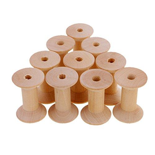 Jili Online 10 Piece Wooden Empty Sewing Bobbins Spools Sewing Thread Ribbon Holders (Wooden Bobbin)