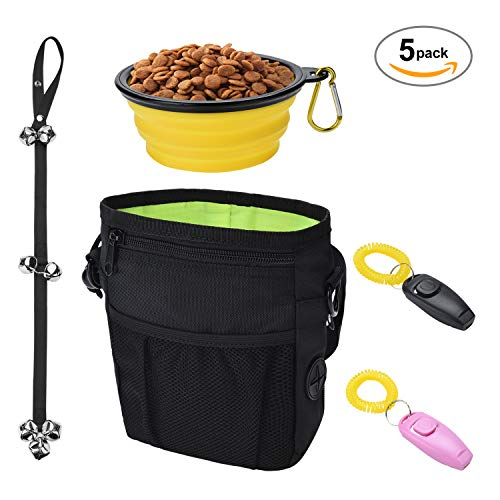 Star Factory 5 in 1 Puppy Training Essential Kit - Dog Treat Pouch, Dog Training Clicker & Whistle 2 Pack, Dog Training Doorbells, Collapsible Dog Bowl, Dog Training Manual Included