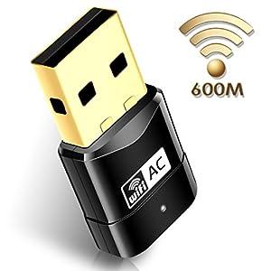 Mailiya AC600Mbps Wireless Adapter Mini USB Wifi Adapter Wireless Network Adapter, 802.11ac Dual Band 2.4G/5G USB Wifi Dongle for Desktop Pc Laptop