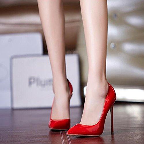 PU Vide Talons YIXINY Amende Escarpin Profonde Rouge Talon Hauts EU37 5 Rouge 5 taille Femme Couleur 12cm Pointu Noir UK4 M212 Bouche Rouge Side Chaussures Peu Caoutchouc CN37 La Oq0dawIxdn