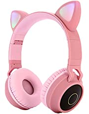 Kids Bluetooth 5.0 Cat Ear Headphones Foldable On-Ear Stereo Wireless Headset with Mic LED Light and Volume Control Support FM Radio/TF Card/Aux in Compatible with Smartphones PC Tablet (Pink)