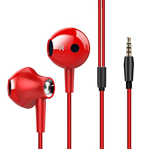 Amasing in Ear Wired Headphones,Earbuds with Microphone Volume Control Heavy Bass Dynamic Driver Earphones with Mic Headset for Running/Gym for 6 6S 5 Samsung S8 S7 S6 Note8 Red