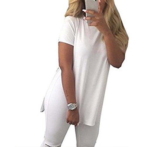 CHICFOR Women Fashion Casual Short Sleeve Side Split Blouse Tops Loose T-Shirt (M, White)