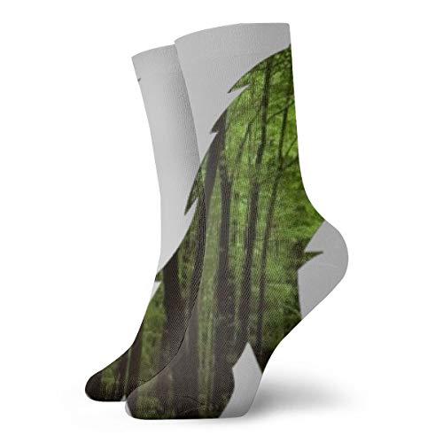 PengMin Green Forest Fox Clipart Fashion Dress Socks Socks Casual Travel Sports Socks Yoga Walking Cycling Running Football