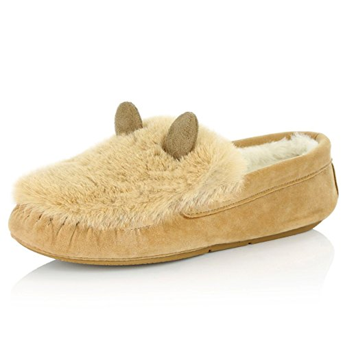 Dailyshoes Dames Moccasin Plat Casual Rijdende Loafers Indoor Classic Instapper Slippers Sandaal Schoenen, Kaneel Sv, 13 B (m) Us