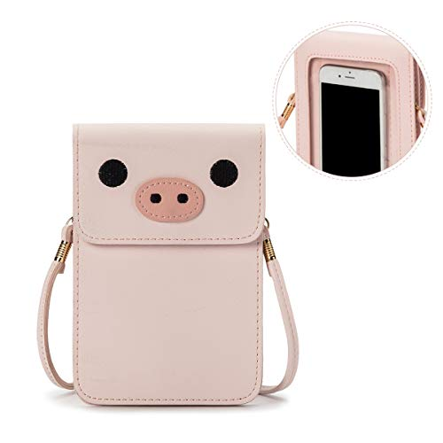 Women Small Crossbody Bag - Cell Phone Purse Smartphone Wallet Cute Animal Bags (Pink-Pig)