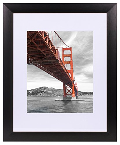 Ivory Metal Frames - Frametory Metal Picture Frame Collection, Aluminum Black Photo Frame with Ivory Color Mat for Picture & Real Glass (11x14)