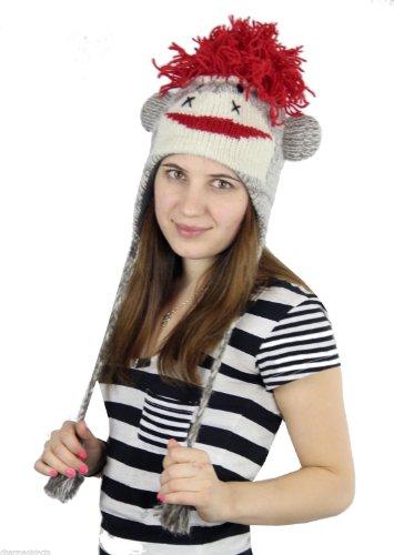 Red Sock Monkey Wool Ski Animal Ear Flaps Hat Hand Knitted In Nepal