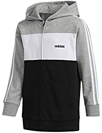 adidas Boys LS Hooded Jacket,M/M,MGREYH