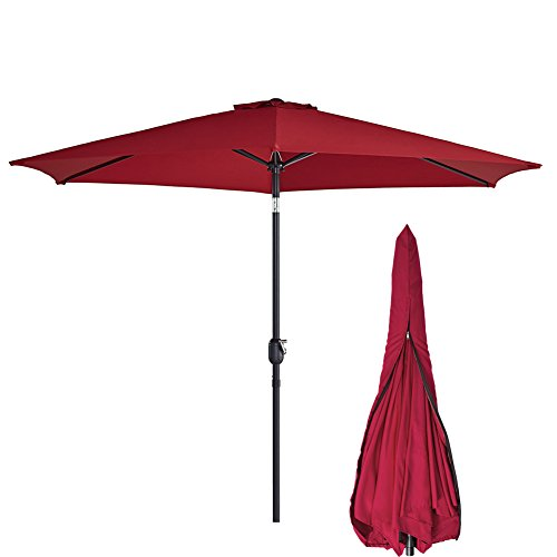 Sunnyline Outdoor Patio Table Umbrella 10FT,with Umbrella Cover Included,Large Round Sunshade with Push Button Tilt and Crank (Wine Red)