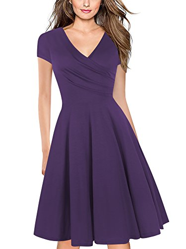 oxiuly Women's V-Neck Cap Sleeve Floral Casual Work Stretch Swing Dress OX233 (S, Purple Soild)