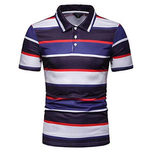 - XLnuln Men Regular-Fit Cotton Pique Polo Shirt Short Sleeve Stripe Painting Large Size Casual Top Blouse Shirts Yellow