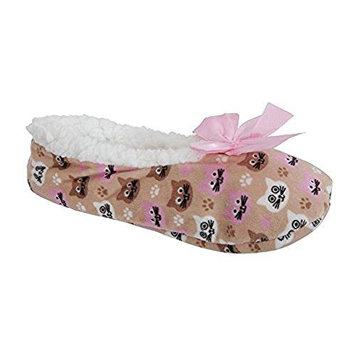 Zapatillas con de con lujo de Zees Co animales mujeres ani Cat mxd lana pinzas para para Sherpa coz de forro suela 8q54Yw