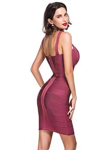 Party Sin Alice Dress amp; Correa Vestido Mangas Strap Mujers Rayon Noche Bandage para Mujer Vestido Bodycon Evening Elmer Sleeveless Club Wine O8rwqO