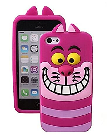 iPhone 5 Hot Pink Cat Silicone Case,iPhone 5S 3D Cartoon Cases,WGOOD Cute Lovely Animal Soft Gel Rubber Silicone Protection Skin Case Cover for Apple iPhone 5 (Rubber Iphone 5s Cases Disney)
