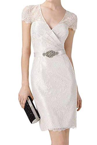 Weiß mit Festlichkleider Braut La Etuikleider Ballkleider mia Abendkleider Spitze Spitze Kurz Anmutig Flieder Knielang RxqHOSw