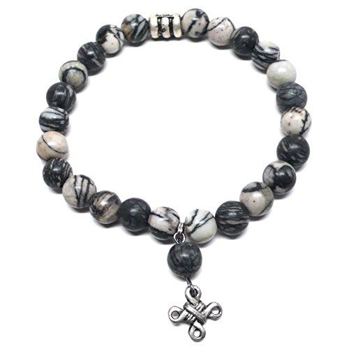 Onyx Marble Elastic Bracelet Pewter Celtic (Handcrafted Pewter Bracelet)