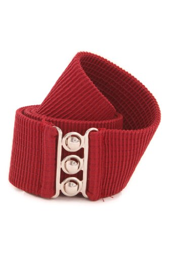 Malco Modes Wide Elastic Cinch Waist Belt Stretch Belt for Women, Plus Sizes XX-Large Ruby Red