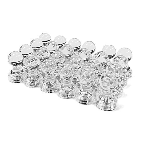 Top 24 Clear Magnetic Push Pins, Perfect for Maps, Whiteboards, Refrigerators, Bulletin Boards for sale
