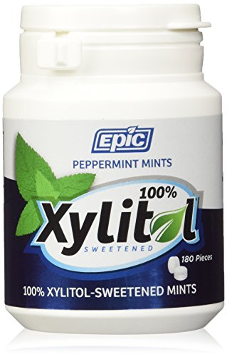 Epic Dental 100% Xylitol Sweetened Breath Mints, Peppermint Flavor, 180 Count Bottles (Pack of 2) Xylitol Peppermint Mints