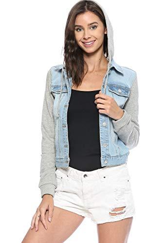 Urban Look Women's Casual Stretch Denim Jean Jacket (Large, C Light Wash) (Denim Hooded Jeans)