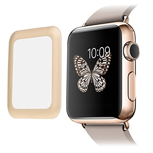 Apple Watch Screen Protector 42MM, 2win2buy Full Coverage Metal Edge Tempered Glass Apple Watch Series 3/2/1/Nike High Definition 9H Hardness Edge to Edge Screen Protector for iWatch - Gold