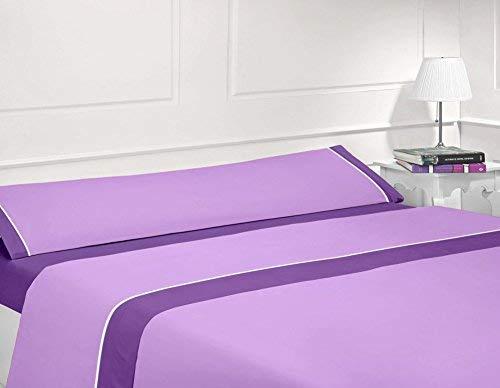 Energy Colors Textil - Hogar Juego Sabanas De Verano Lisas 3 Piezas para Cama Grande de 150 x 190/200 cm (Lila/Morado)