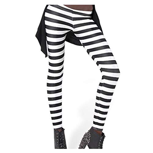 VWU Womens Sexy Digital Printed Leggings Big Girls Fashion Leggings (Black and White Stripes, XX-Large) (Black And White Horizontal And Vertical Stripes)
