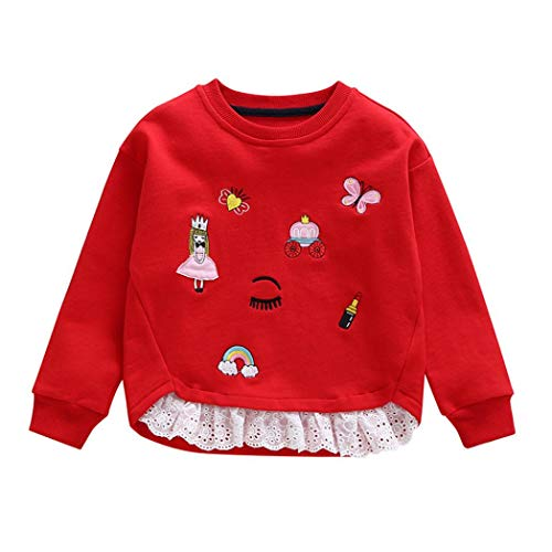 2-6T Toddler Infant Baby Girls Cute Tops Embroidery Patchwork Sweatshirt Round Neck Pullover Blouse Winter Clothes (Red, 6T) by Aritone - Baby Clothes