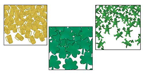 2.5Oz St. Patrick Day Fanci-Fetti Confetti (Pack of 3 Styles - Beer Mugs, Leprechauns & Shamrocks) Party Decorations & Supply