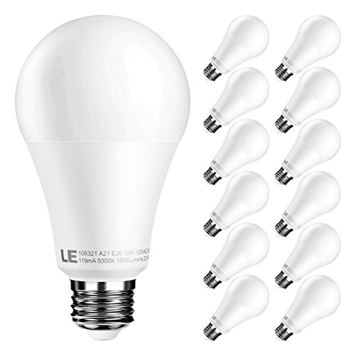 Bedside Unit (LE Dimmable 15W A21 E26 LED Bulbs, 100W Bulbs Equivalent, 1500lm, 200° Beam Angle Wide Flood Light Blubs, 5000K Daylight White LED Light Bulbs, Pack of 12 Units)