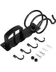 Hair Dryer Holder,Aluminium Hair Dryer Stand,Wall Mounted Hair Dryer Bracket and Straightener Holder Set Storage Organiser with Three Hooks for Bathroom - Black