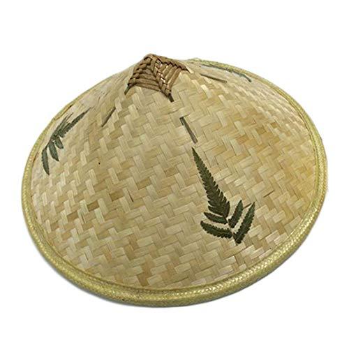 DeemoShop Retro Bamboo Rattan Fisherman Hat Retro Handmade Weave Straw Hat Tourism Rain Cap Dance Props Cone Fishing Sunshade Boonie Hat -