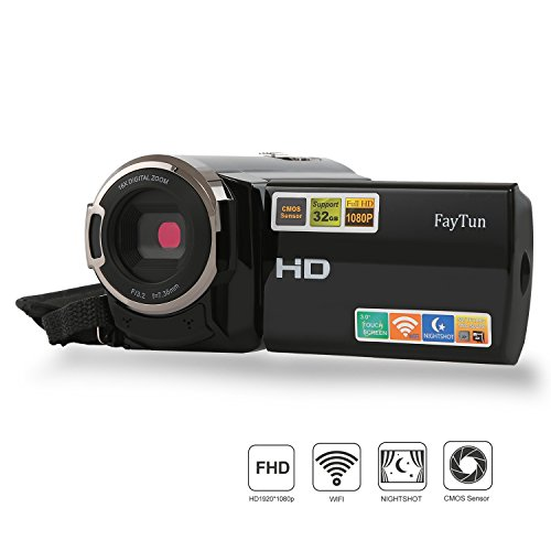 Camcorder, FayTun Camcorders with Wifi, 1920x1080p 30FPS Digital Video Camera Camcorder with IR Night Vision, Ultra HD DV, HDMI Output, Supports Wide Angle Lens