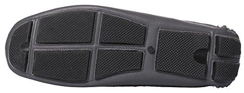 Caihee Mens Läder Loafers Drivskor Mockasiner Med Spets-up Detaljer Grå-1