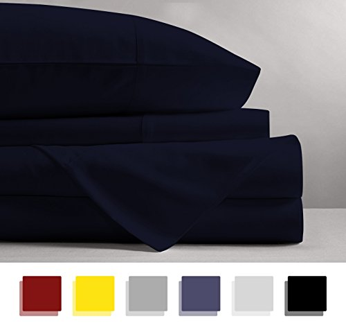 Mayfair Linen 100% EGYPTIAN COTTON Sheets, NAVY BLUE QUEEN S