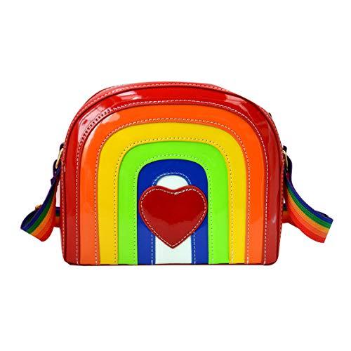 Felice Cute Rainbow Color Stripes Messenger Crossbody Bag Patent Leather Domed Satchel ()