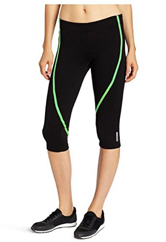ASICS Women's Natalee Capri Pant (Large, Black/Spearmint Green)