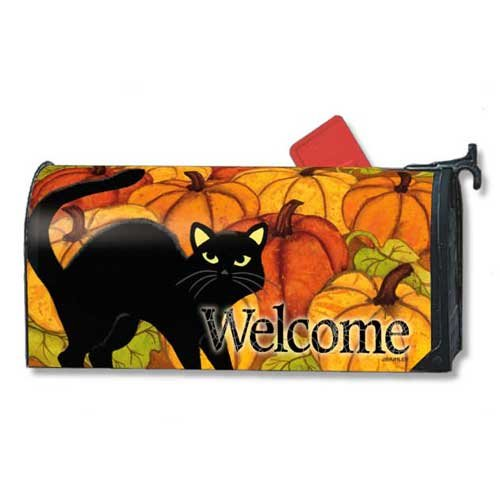 Mailwraps Cat - MailWraps Pumkin Patch Cat Mailbox Cover 02760