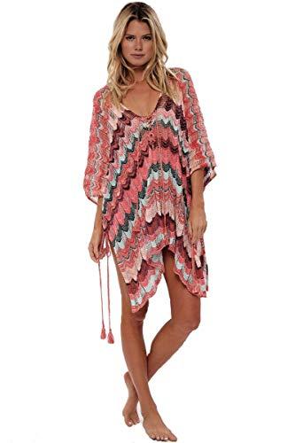 Women's Fashion Swimwear Crochet Tunic Cover Up/Beach Dres,Multicolor Red